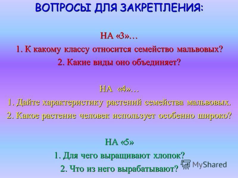 ВОПРОСЫ ДЛЯ ЗАКРЕПЛЕНИЯ: НА «3»… 1. К какому классу относится семейство мальвовых? 2. Какие виды оно объединяет? НА «4»… 1. Дайте характеристику растений семейства мальвовых. 2. Какое растение человек использует особенно широко? НА «5» 1. Для чего вы