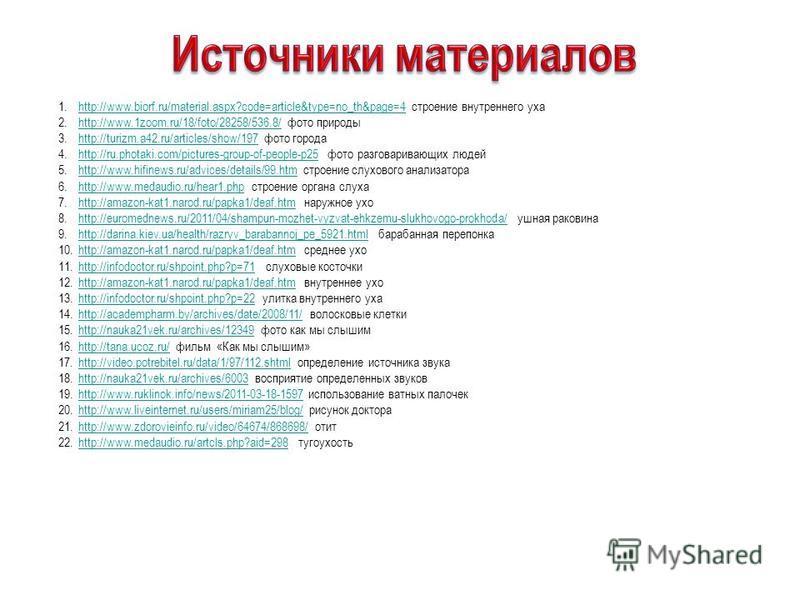 1.http://www.biorf.ru/material.aspx?code=article&type=no_th&page=4 строение внутреннего ухаhttp://www.biorf.ru/material.aspx?code=article&type=no_th&page=4 2.http://www.1zoom.ru/18/foto/28258/536.8/ фото природыhttp://www.1zoom.ru/18/foto/28258/536.8