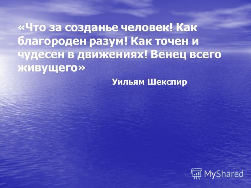 «Что за создание человек! Как благороден разум! Как точен и чудесен в движениях! Венец всего живущего» Уильям Шекспир