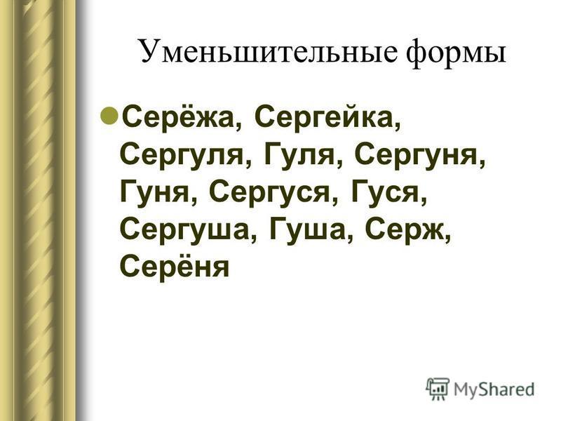 Уменьшительные формы Серёжа, Сергейка, Сергуля, Гуля, Сергуня, Гуня, Сергуся, Гуся, Сергуша, Гуша, Серж, Серёня