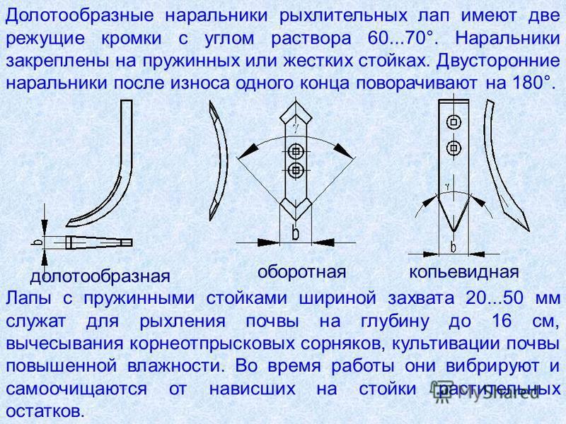 Долотообразные наральники рыхлительных лап имеют две режущие кромки с углом раствора 60...70°. Наральники закреплены на пружинных или жестких стойках. Двусторонние наральники после износа одного конца поворачивают на 180°. копьевидная долотообразная