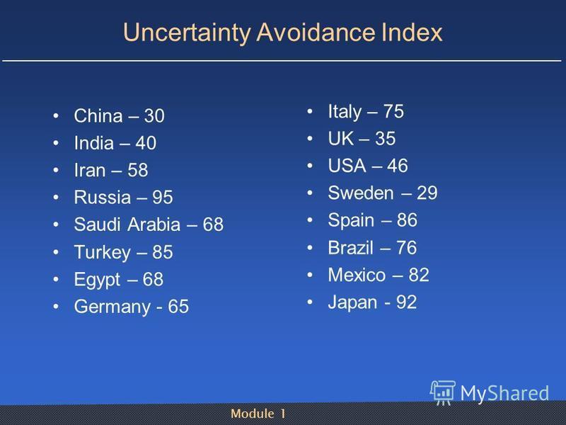 Module 1 Uncertainty Avoidance Index China – 30 India – 40 Iran – 58 Russia – 95 Saudi Arabia – 68 Turkey – 85 Egypt – 68 Germany - 65 Italy – 75 UK – 35 USA – 46 Sweden – 29 Spain – 86 Brazil – 76 Mexico – 82 Japan - 92