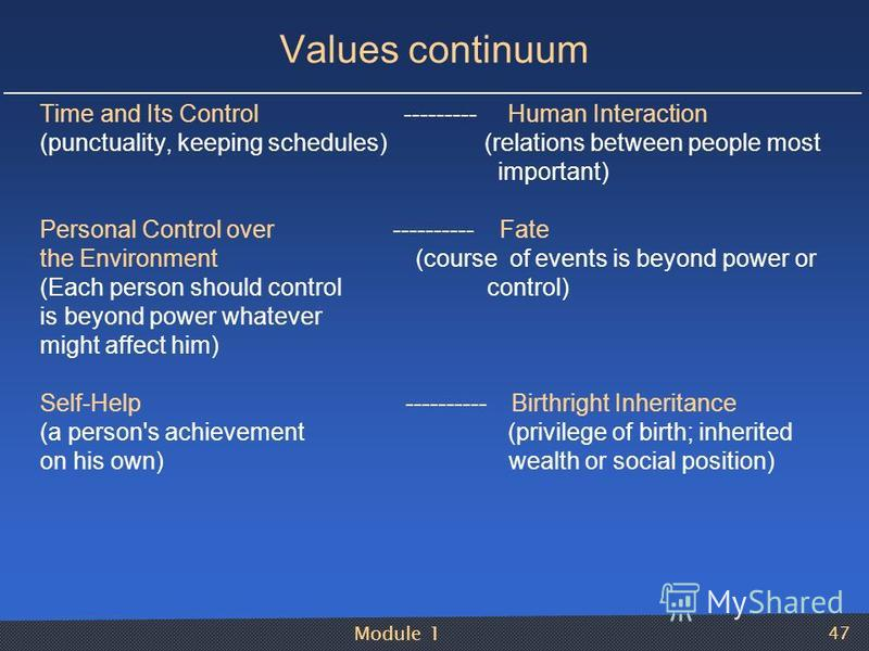 Module 1 47 Values continuum Time and Its Control --------- Human Interaction (punctuality, keeping schedules) (relations between people most important) Personal Control over ---------- Fate the Environment (course of events is beyond power or (Each