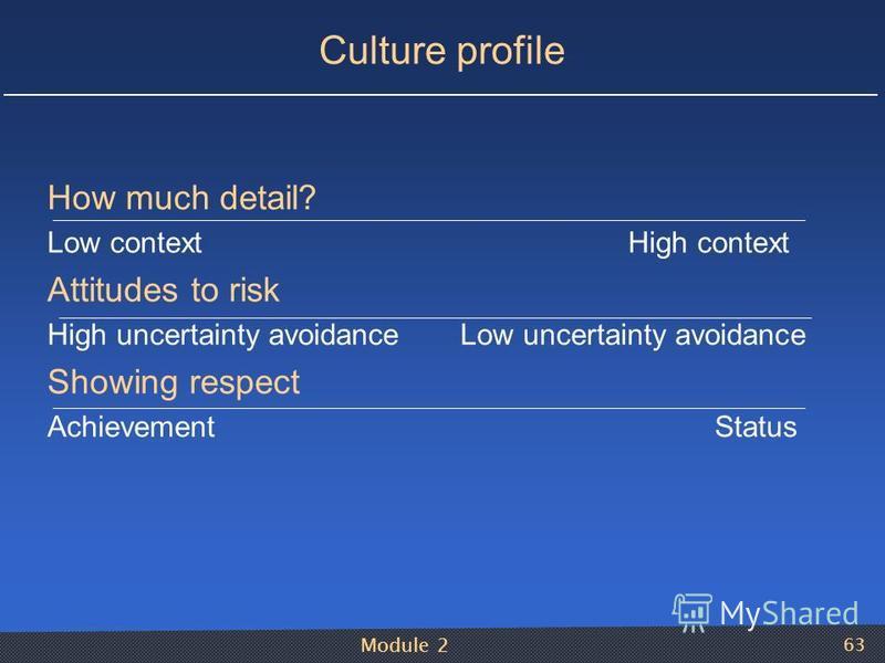 Module 2 63 Culture profile How much detail? Low context High context Attitudes to risk High uncertainty avoidance Low uncertainty avoidance Showing respect Achievement Status