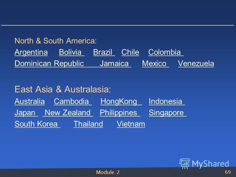 Module 2 69 North & South America: ArgentinaArgentina Bolivia Brazil Chile Colombia Bolivia Brazil ChileColombia Dominican Republic Jamaica Mexico VenezuelaJamaica Mexico Venezuela East Asia & Australasia: AustraliaAustralia Cambodia HongKong Indones