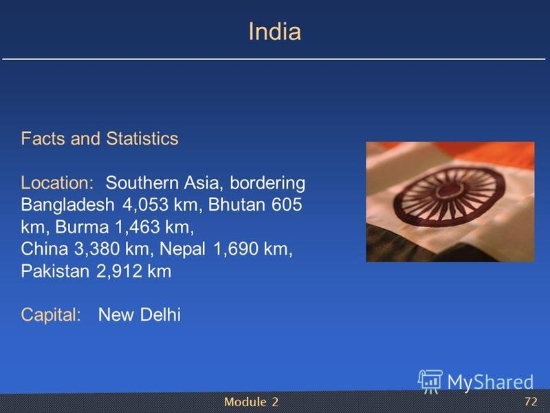 Module 2 72 India Facts and Statistics Location: Southern Asia, bordering Bangladesh 4,053 km, Bhutan 605 km, Burma 1,463 km, China 3,380 km, Nepal 1,690 km, Pakistan 2,912 km Capital: New Delhi