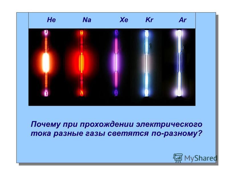 Почему при прохождении электрического тока разные газы светятся по-разному? Не Na Xe Kr Ar
