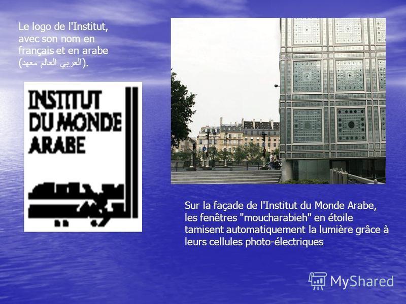 Sur la façade de l'Institut du Monde Arabe, les fenêtres moucharabieh en étoile tamisent automatiquement la lumière grâce à leurs cellules photo-électriques Le logo de l'Institut, avec son nom en français et en arabe (معهد العالم العربي).