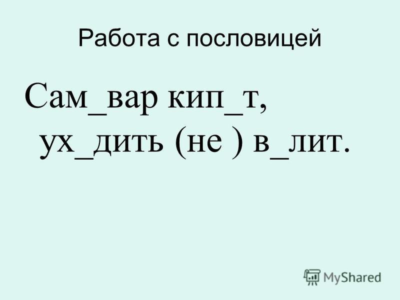 Работа с пословицей Сам_вар кип_т, ух_дить (не ) в_лит.