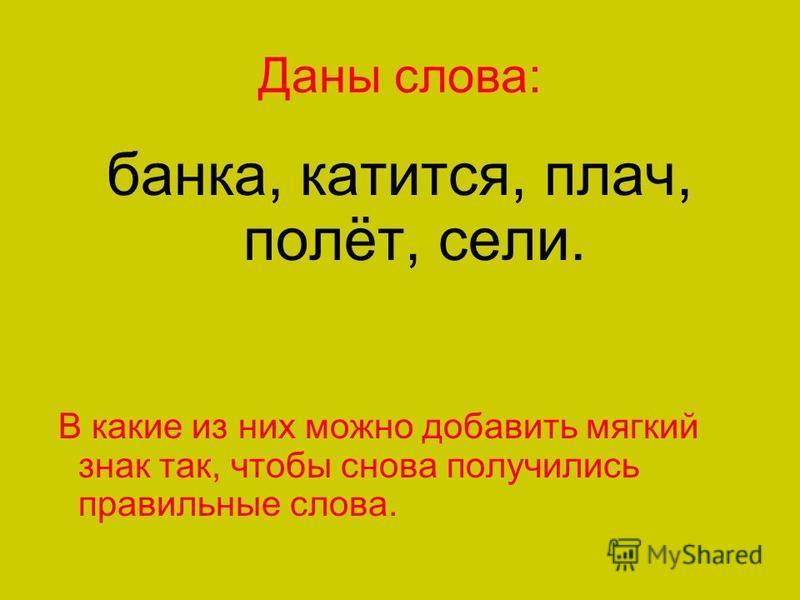 Даны слова: банка, катится, плач, полёт, сели. В какие из них можно добавить мягкий знак так, чтобы снова получились правильные слова.