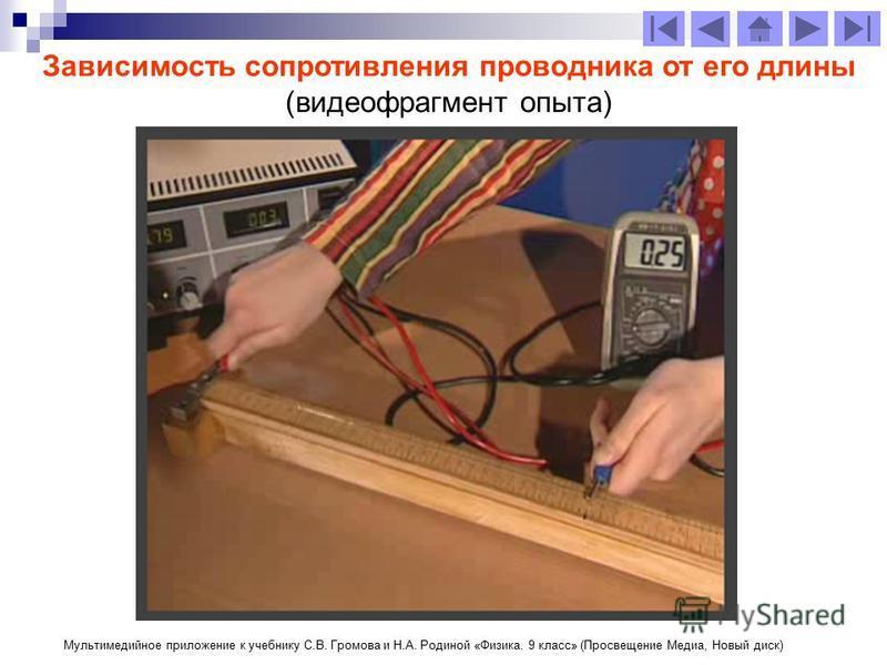 Зависимость сопротивления проводника от его длины (видеофрагмент опыта) Мультимедийное приложение к учебнику С.В. Громова и Н.А. Родиной «Физика. 9 класс» (Просвещение Медиа, Новый диск)