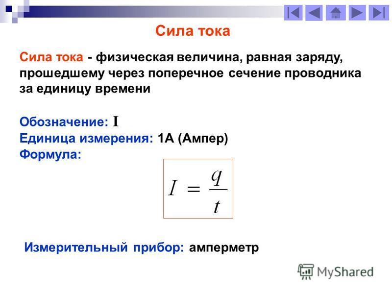 Сила тока Сила тока - физическая величина, равная заряду, прошедшему через поперечное сечение проводника за единицу времени Обозначение: I Единица измерения: 1А (Ампер) Формула: Измерительный прибор: амперметр