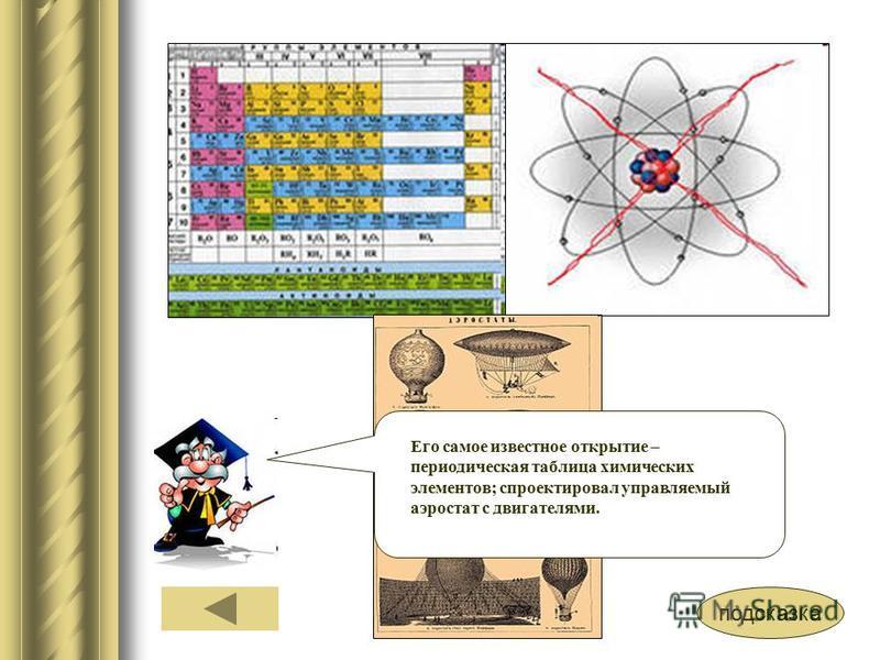 подсказка Его самое известное открытие – периодическая таблица химических элементов; спроектировал управляемый аэростат с двигателями.