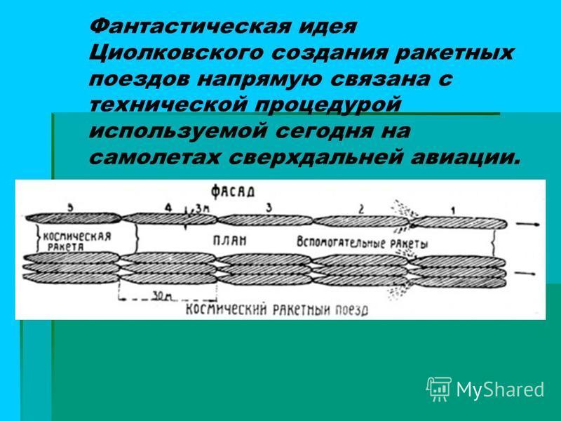 Фантастическая идея Циолковского создания ракетных поездов напрямую связана с технической процедурой используемой сегодня на самолетах сверхдальней авиации.