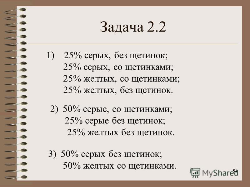 54 Задача 2.2 1) 25% серых, без щетинок; 25% серых, со щетинками; 25% желтых, со щетинками; 25% желтых, без щетинок. 2)50% серые, со щетинками; 25% серые без щетинок; 25% желтых без щетинок. 3)50% серых без щетинок; 50% желтых со щетинками.