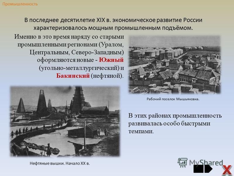 В последнее десятилетие XIX в. экономическое развитие России характеризовалось мощным промышленным подъёмом. Именно в это время наряду со старыми промышленными регионами (Уралом, Центральным, Северо-Западным) оформляются новые - Южный (угольно-металл