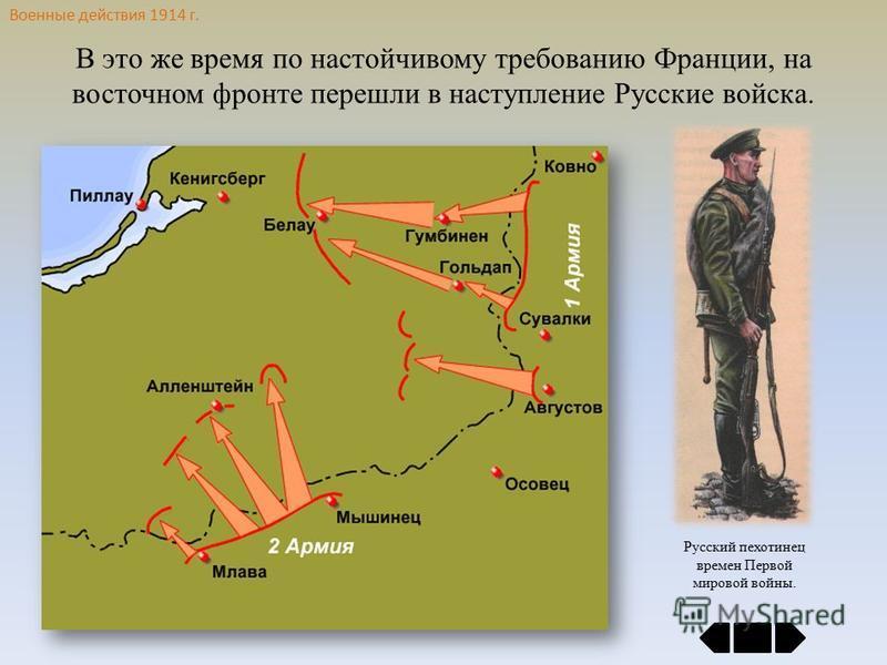 Военные действия 1914 г. В это же время по настойчивому требованию Франции, на восточном фронте перешли в наступление Русские войска. Русский пехотинец времен Первой мировой войны.