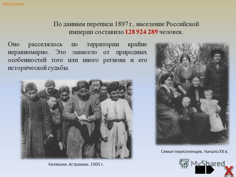 Оно расселялось по территории крайне неравномерно. Это зависело от природных особенностей того или иного региона и его исторической судьбы. Семья переселенцев. Начало ХХ в. По данным переписи 1897 г., население Российской империи составило 128 924 28