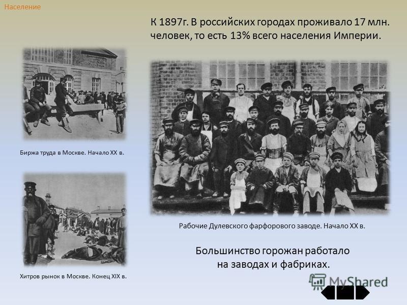К 1897 г. В российских городах проживало 17 млн. человек, то есть 13% всего населения Империи. Население Большинство горожан работало на заводах и фабриках. Хитров рынок в Москве. Конец ХIХ в. Биржа труда в Москве. Начало ХХ в. Рабочие Дулевского фар