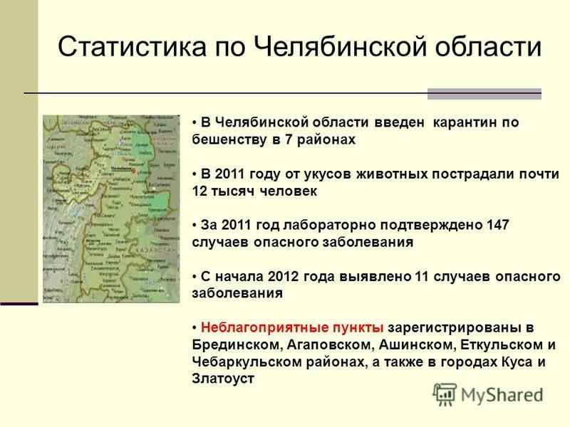 В Челябинской области введен карантин по бешенству в 7 районах В 2011 году от укусов животных пострадали почти 12 тысяч человек За 2011 год лабораторно подтверждено 147 случаев опасного заболевания С начала 2012 года выявлено 11 случаев опасного забо