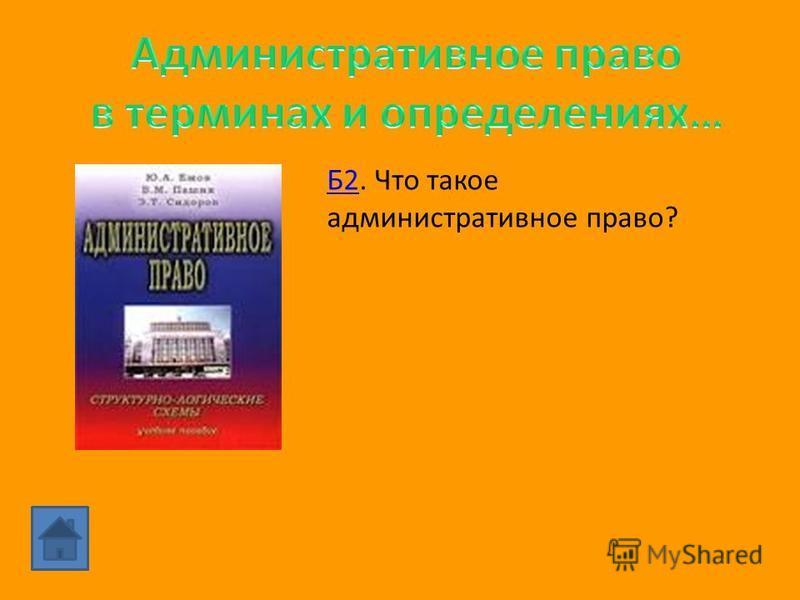 Б1. Общественные отношения, которые складываются в процессе осуществления исполнительной власти, в связи с деятельностью ее органов, призванных осуществлять функции государства.