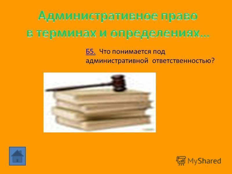 Б4. Согласно Кодексу РФ об административных правонарушениях, административное наказание есть «установленная государством мера ответственности за совершение административного правонарушения».