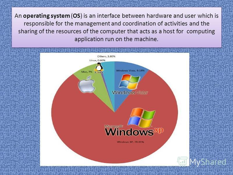 An operating system (OS) is an interface between hardware and user which is responsible for the management and coordination of activities and the sharing of the resources of the computer that acts as a host for computing application run on the machin