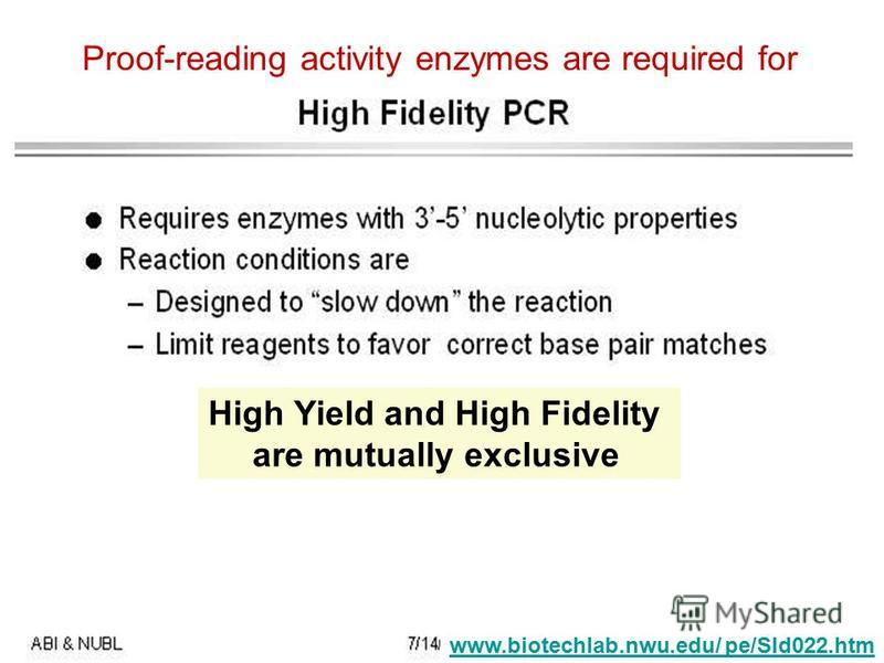 www.biotechlab.nwu.edu/ pe/Sld022.htm Proof-reading activity enzymes are required for High Yield and High Fidelity are mutually exclusive