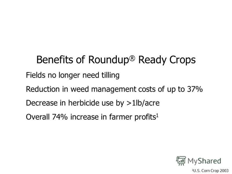 Benefits of Roundup ® Ready Crops Fields no longer need tilling Reduction in weed management costs of up to 37% Decrease in herbicide use by >1lb/acre Overall 74% increase in farmer profits 1 1 U.S. Corn Crop 2003