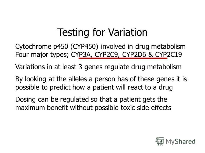 Testing for Variation Cytochrome p450 (CYP450) involved in drug metabolism Four major types; CYP3A, CYP2C9, CYP2D6 & CYP2C19 Variations in at least 3 genes regulate drug metabolism By looking at the alleles a person has of these genes it is possible