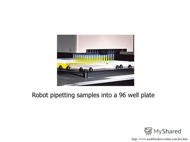 http://www.noabbiodiscoveries.com/hts.htm Robot pipetting samples into a 96 well plate