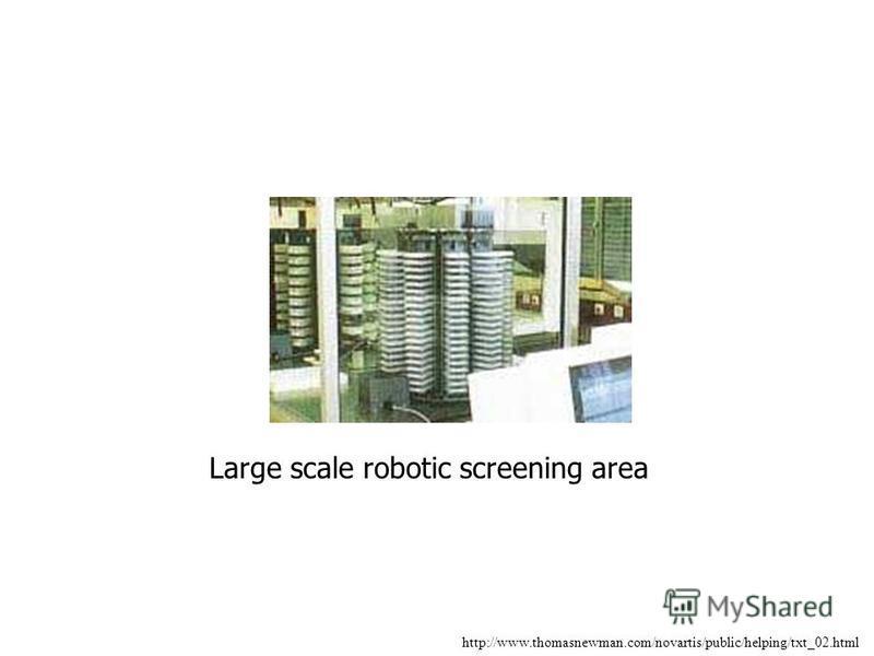 http://www.thomasnewman.com/novartis/public/helping/txt_02.html Large scale robotic screening area