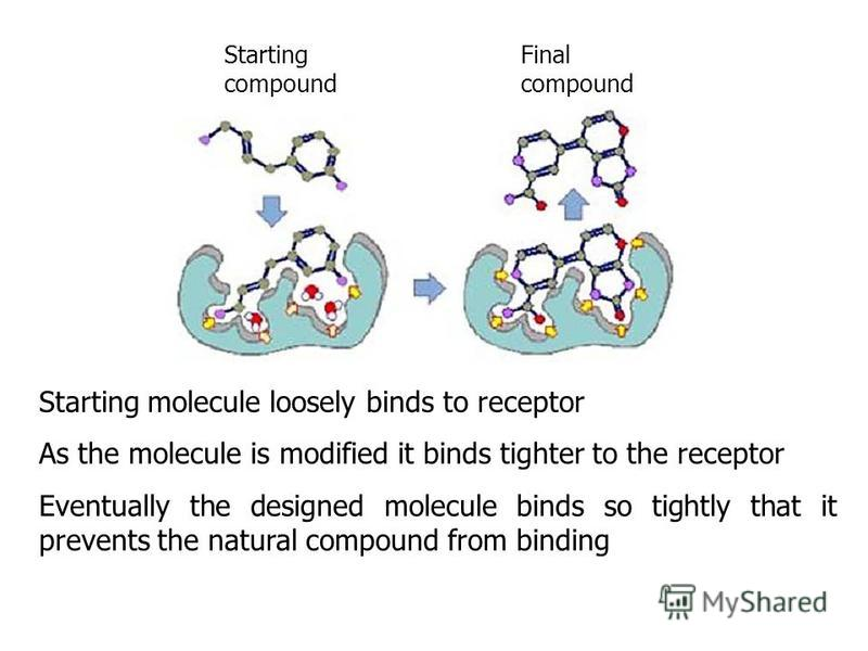 Starting molecule loosely binds to receptor As the molecule is modified it binds tighter to the receptor Eventually the designed molecule binds so tightly that it prevents the natural compound from binding Starting compound Final compound