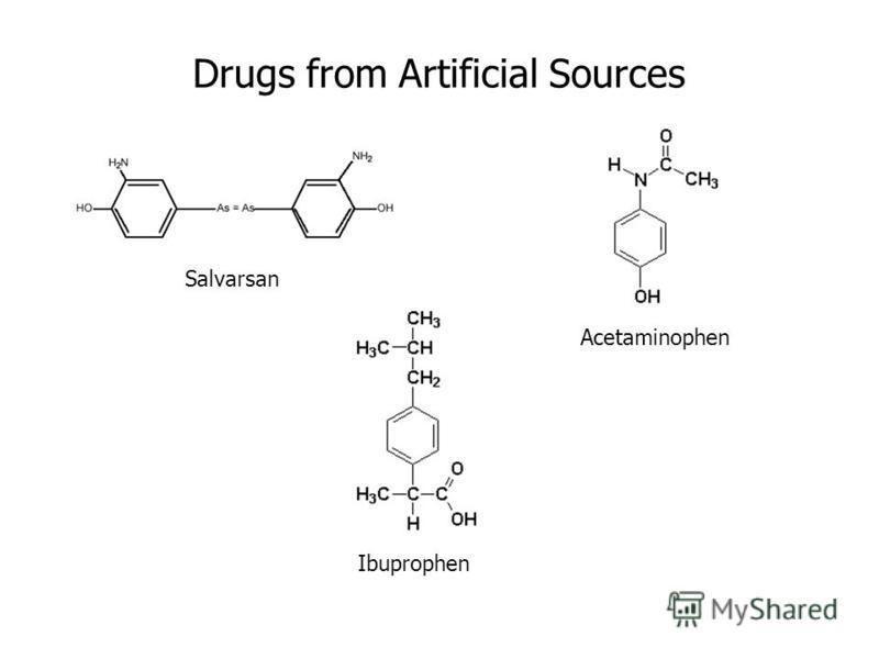 Salvarsan Drugs from Artificial Sources Acetaminophen Ibuprophen
