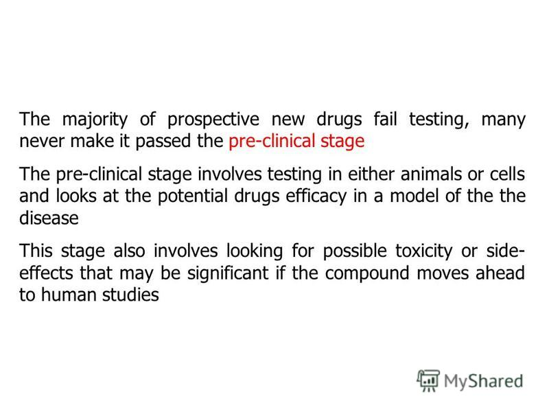 The majority of prospective new drugs fail testing, many never make it passed the pre-clinical stage The pre-clinical stage involves testing in either animals or cells and looks at the potential drugs efficacy in a model of the the disease This stage