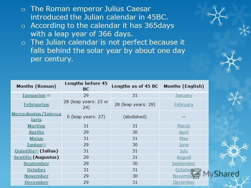 o The Roman emperor Julius Caesar introduced the Julian calendar in 45BC. o According to the calendar it has 365days with a leap year of 366 days. o The Julian calendar is not perfect because it falls behind the solar year by about one day per centur
