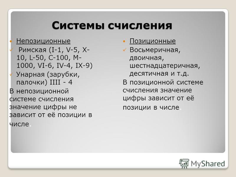 Системы счисления Позиционные Восьмеричная, двоичная, шестнадцатеричная, десятичная и т.д. В позиционной системе счисления значение цифры зависит от её позиции в числе. Непозиционные Римская (I-1, V-5, X- 10, L-50, C-100, M- 1000, VI-6, IV-4, IX-9) У