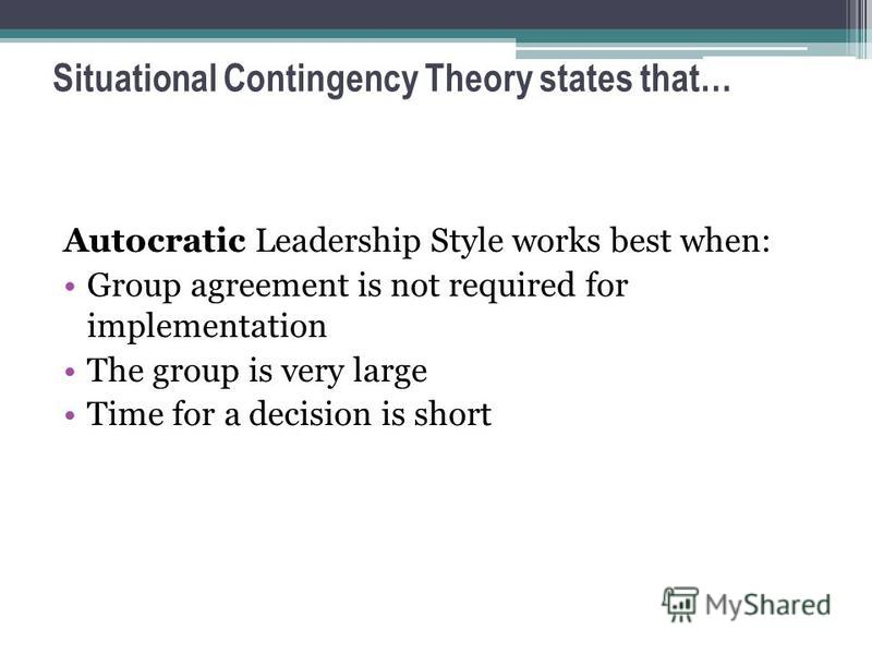 research papers contingency theory of leadership The contingency leadership theory argues that there is no single way of leading and that every leadership style should be based on certain situations.