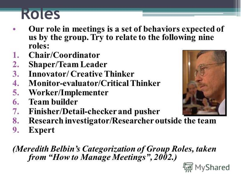 Roles Our role in meetings is a set of behaviors expected of us by the group. Try to relate to the following nine roles: 1.Chair/Coordinator 2.Shaper/Team Leader 3.Innovator/ Creative Thinker 4.Monitor-evaluator/Critical Thinker 5.Worker/Implementer