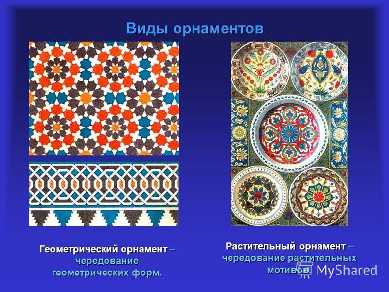 Виды орнаментов Геометрический орнамент – чередование геометрических форм. Растительный орнамент – чередование растительных мотивов.