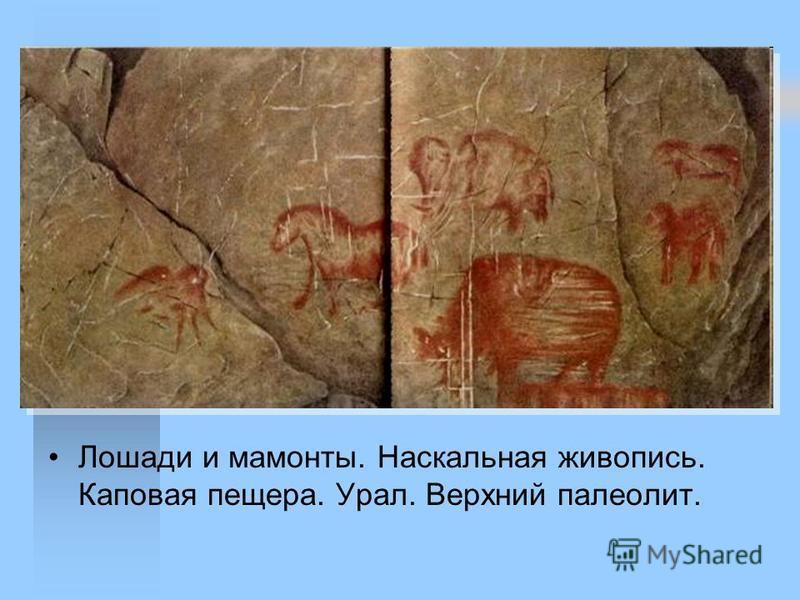 Лошади и мамонты. Наскальная живопись. Капокая пещера. Урал. Верхний палеолит.