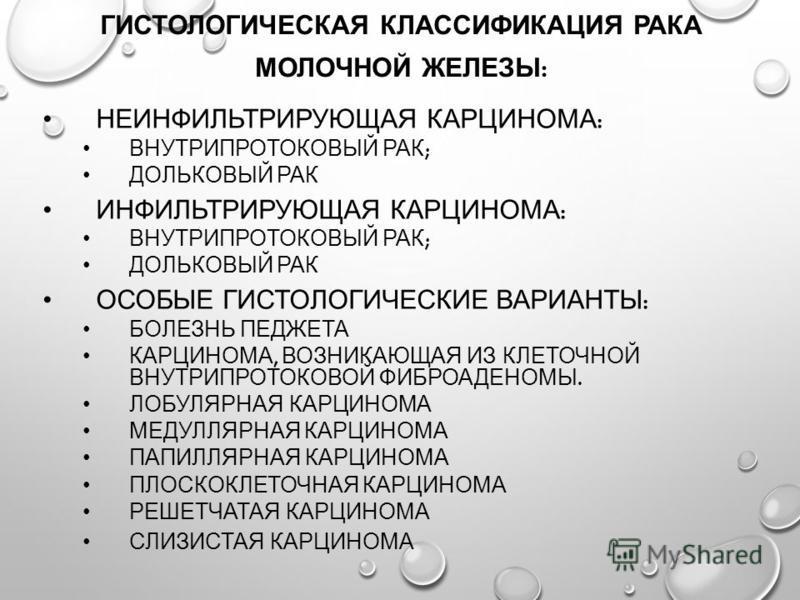 ГИСТОЛОГИЧЕСКАЯ КЛАССИФИКАЦИЯ РАКА МОЛОЧНОЙ ЖЕЛЕЗЫ : НЕИНФИЛЬТРИРУЮЩАЯ КАРЦИНОМА : ВНУТРИПРОТОКОВЫЙ РАК ; ДОЛЬКОВЫЙ РАК ИНФИЛЬТРИРУЮЩАЯ КАРЦИНОМА : ВНУТРИПРОТОКОВЫЙ РАК ; ДОЛЬКОВЫЙ РАК ОСОБЫЕ ГИСТОЛОГИЧЕСКИЕ ВАРИАНТЫ : БОЛЕЗНЬ ПЕДЖЕТА КАРЦИНОМА, ВОЗН