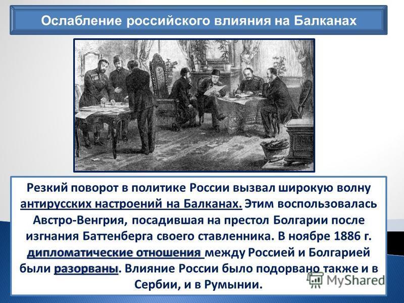Ослабление российского влияния на Балканах дипломатические отношения разорваны Резкий поворот в политике России вызвал широкую волну антирусских настроений на Балканах. Этим воспользовалась Австро-Венгрия, посадившая на престол Болгарии после изгнани