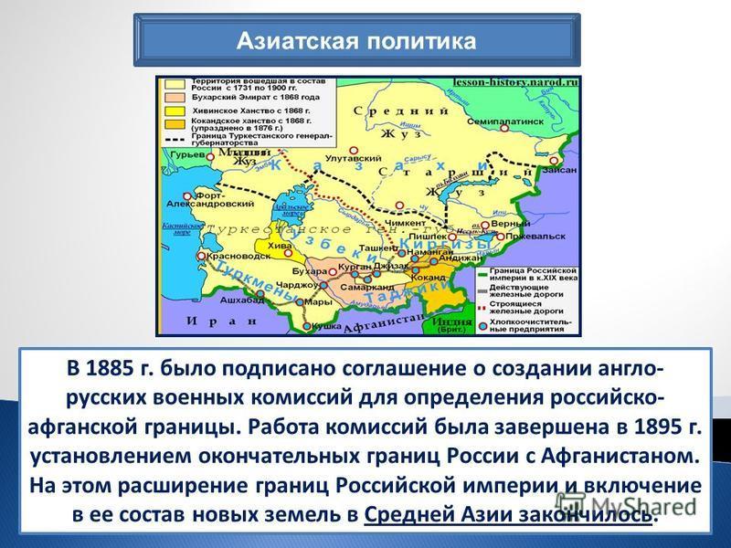 Азиатская политика В 1885 г. было подписано соглашение о создании англо- русских военных комиссий для определения российско- афганской границы. Работа комиссий была завершена в 1895 г. установлением окончательных границ России с Афганистаном. На этом
