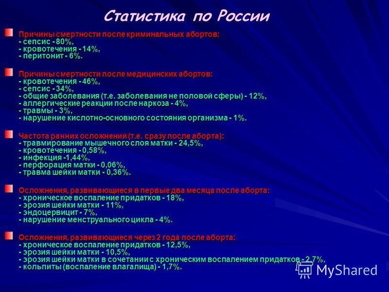 Статистика по России Причины смертности после криминальных абортов: - сепсис - 80%, - кровотечения - 14%, - перитонит - 6%. Причины смертности после медицинских абортов: - кровотечения - 46%, - сепсис - 34%, - общие заболевания (т.е. заболевания не п