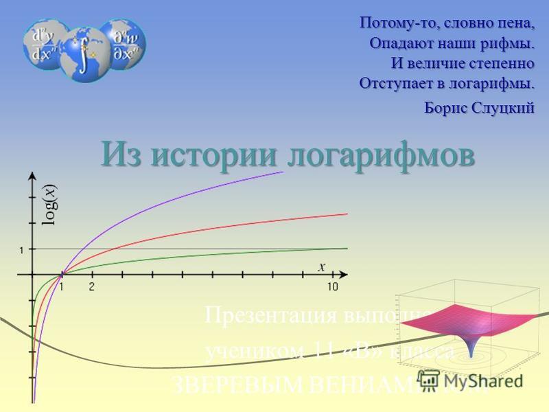 Из истории логарифмов Презентация выполнена учеником 11 «В» класса ЗВЕРЕВЫМ ВЕНИАМИНОМ Потому-то, словно пена, Опадают наши рифмы. И величие степенно Отступает в логарифмы. Борис Слуцкий