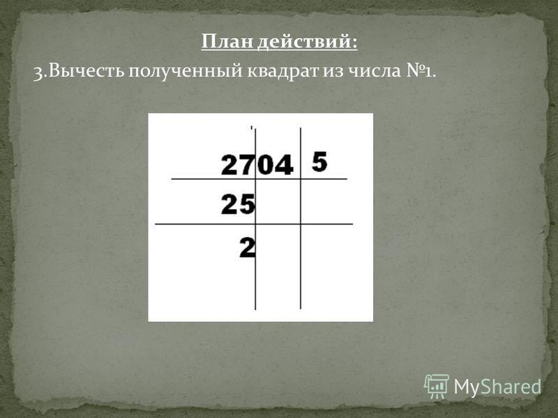 План действий: 3. Вычесть полученный квадрат из числа 1.