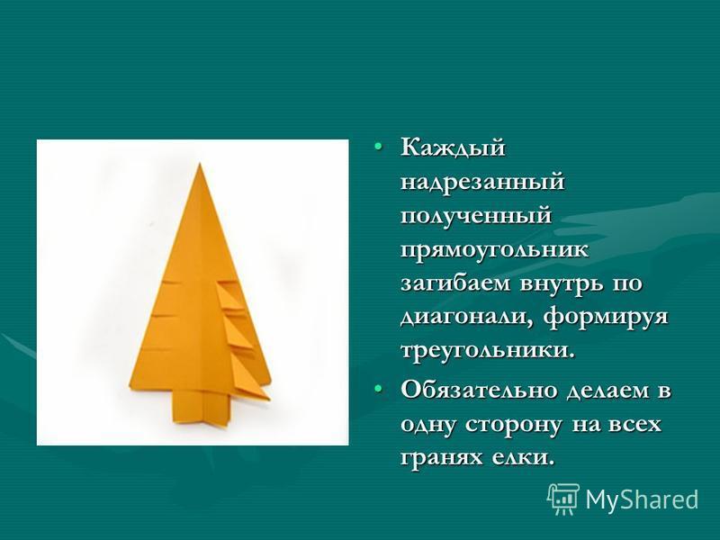 Каждый надрезанный полученный прямоугольник загибаем внутрь по диагонали, формируя треугольники. Обязательно делаем в одну сторону на всех гранях елки.