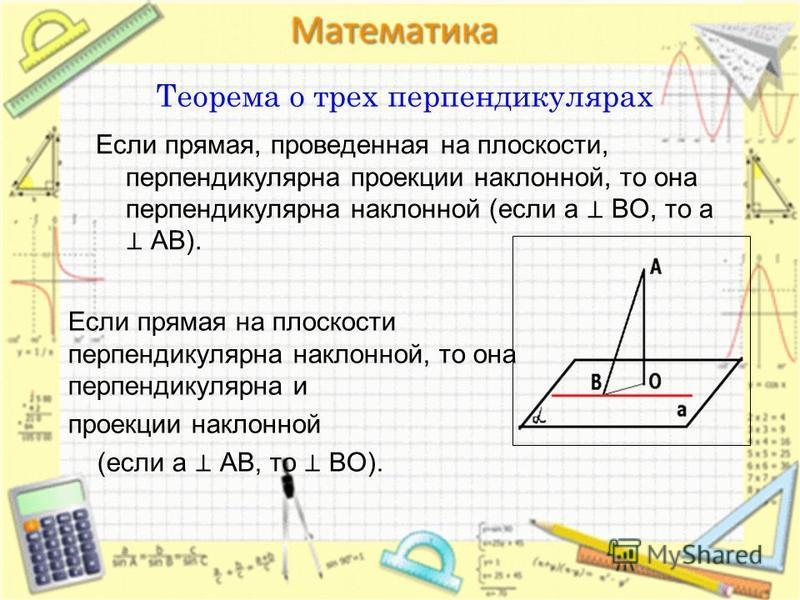 Теорема о трех перпендикулярах Если прямая, проведенная на плоскости, перпендикулярна проекции наклонной, то она перпендикулярна наклонной (если a BO, то a AB). Если прямая на плоскости перпендикулярна наклонной, то она перпендикулярна и проекции нак
