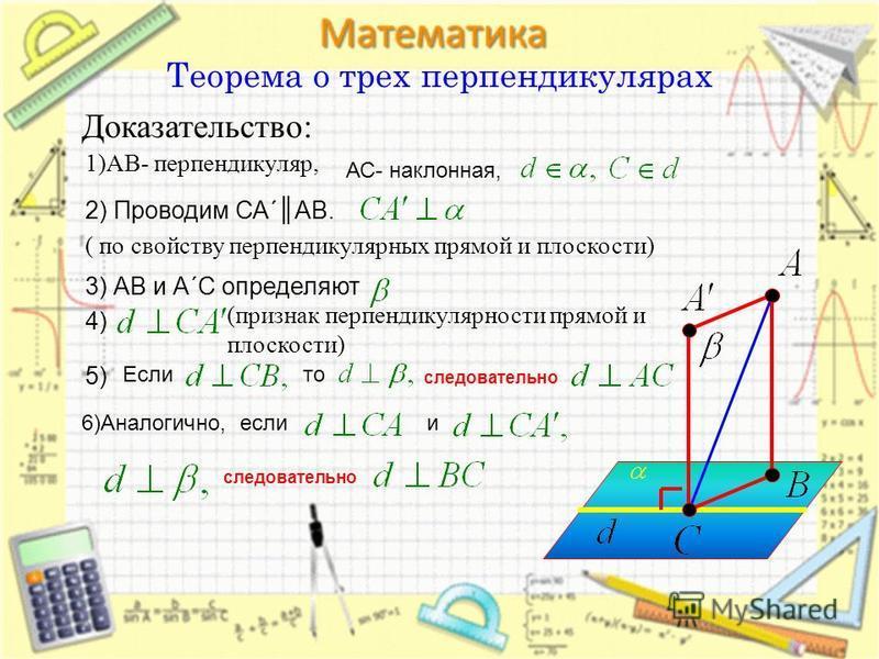 Теорема о трех перпендикулярах Доказательство: 1)АВ- перпендикуляр, 2) Проводим СА´АВ. ( по свойству перпендикулярных прямой и плоскости) 3) АВ и А´С определяют 4) (признак перпендикулярности прямой и плоскости) 5) Еслито следовательно 6)Аналогично,